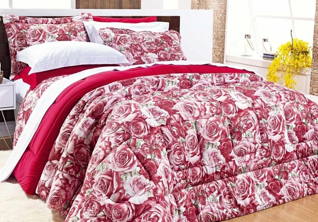 Edredom Safari Queen Rosas Malha Penteada cor Vermelho com 1 peça