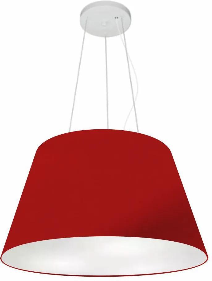 Lustre Pendente Cone Md-4141 Cúpula em Tecido 30/50x35cm Bordo - Bivolt