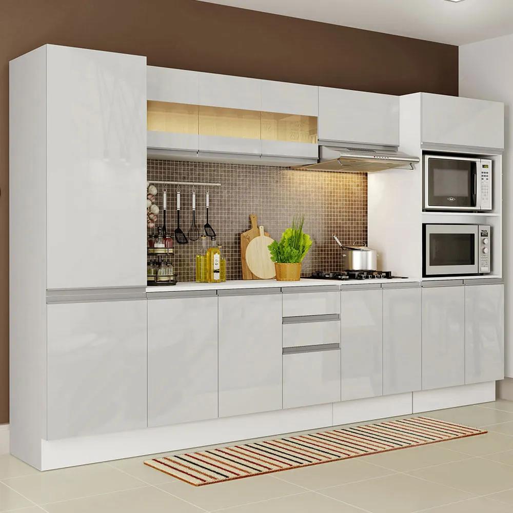 Cozinha Completa 100% MDF Madesa Smart 300 cm Modulada Com Armário, Balcão e Tampo Frentes Branco Brilho Cor:Branco
