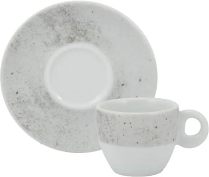 Xícara Café com Pires 80 ml Pocelana Schmidt - Dec. Concreto