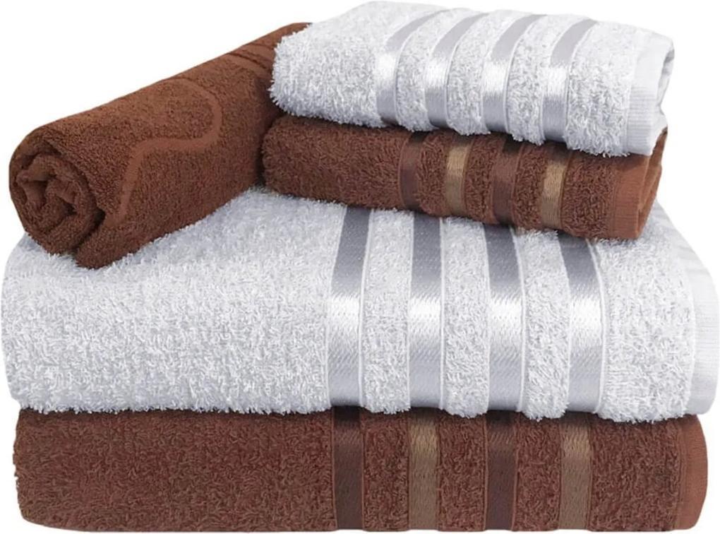 Jogo de Toalha 5 Peças kit de toalhas 2 banho 2 rosto 1 piso Marrom e Branca