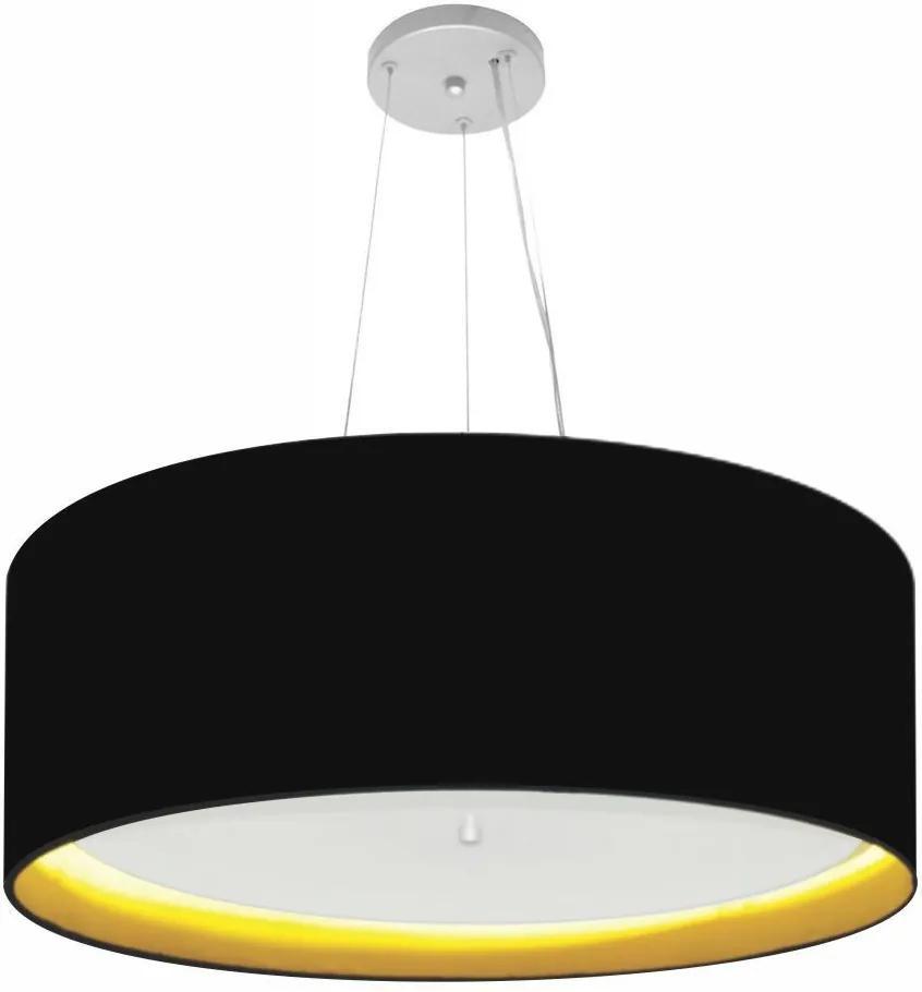 Lustre Pendente Cilíndrico Md-4013 Cúpula Forrada em Tecido 60x25cm Preto / Amarelo - Bivolt