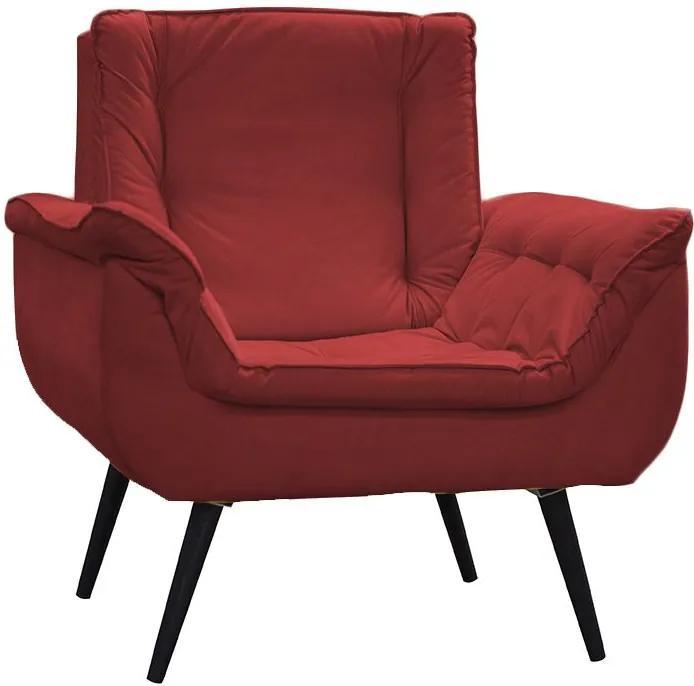 Poltrona Decorativa Mônica 1 Lugar Suede Vermelho - Matrix - Vermelho
