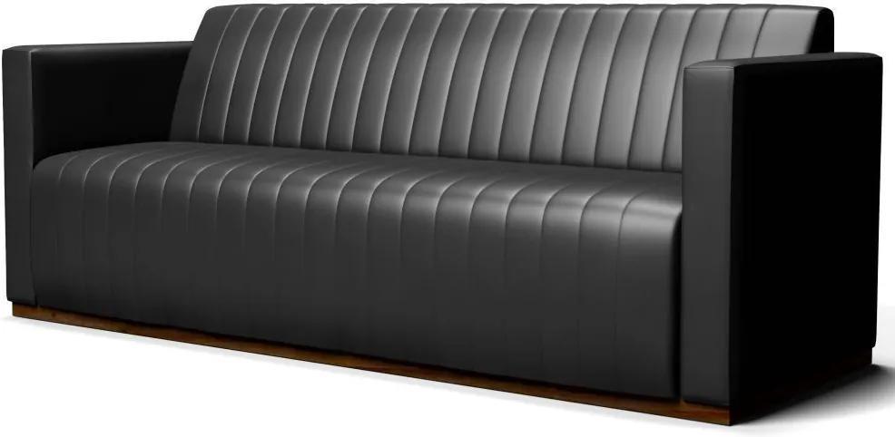 Sofá 3 Lugares Sala de Estar Hórus 210 cm Couríssimo Preto Brilho - Gran Belo