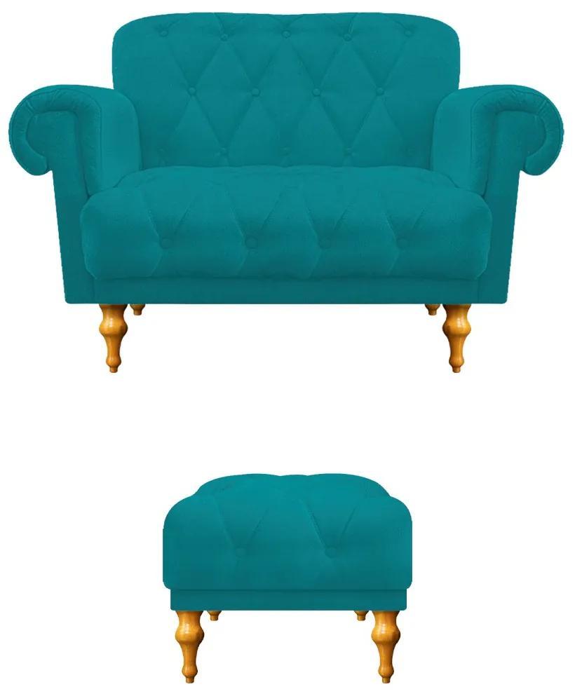 kit Namoradeira e Puff Decorativos Dani Suede Azul Turquesa - ADJ Decor