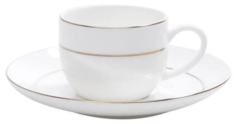 Jogo Xícaras Para Café Porcelana Bone China 6 Peças Com Pires Nice Gold 90ml 1197 Wolff