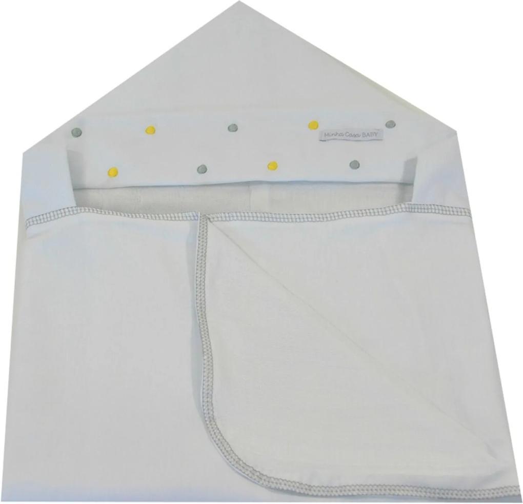 Toalha de Banho em Malha com Capuz Forrada em Fralda Minha Casa Baby TBC3030/4 Poá Cinza/Amarelo,