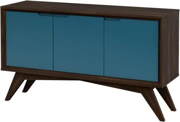 Buffet Serafim 3 Portas Envelhecido e Azul - Wood Prime MP 27637