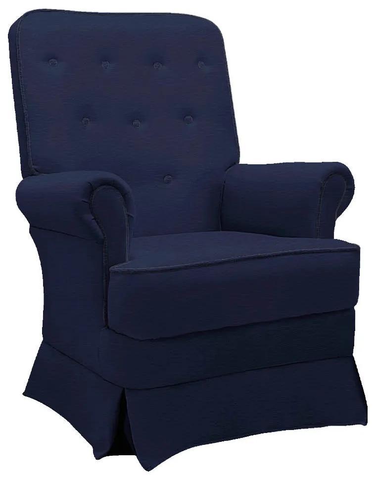 Poltrona de Amamentação Lara com Balanço Corano Azul Marinho - ADJ DECOR