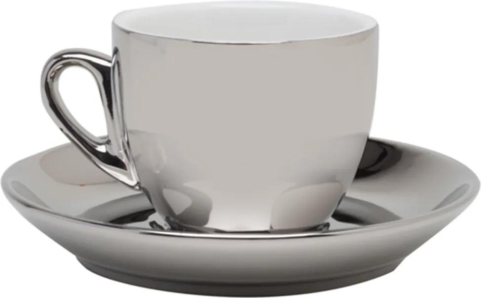Conjunto de 6 Xícaras de Porcelana Wolff Para Café Com Pires Branco e Prata Versa 90ml