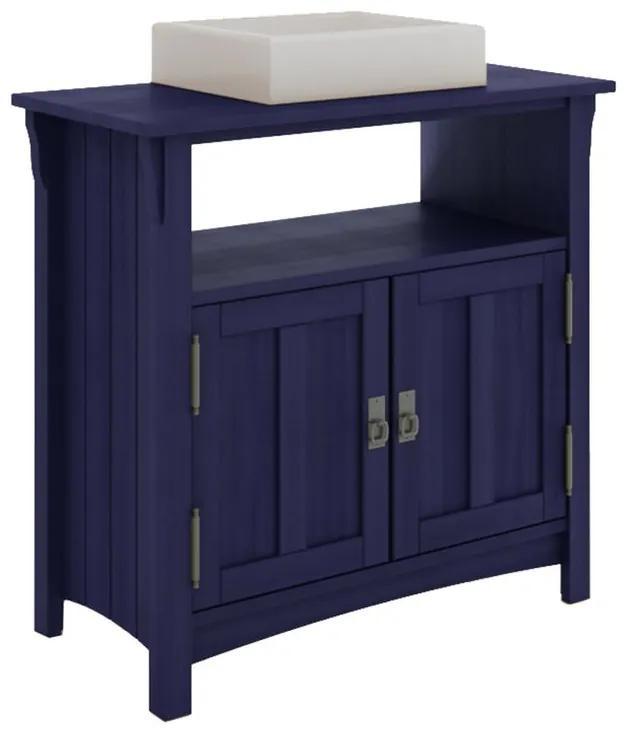 Balcão para Banheiro Mission com 2 Portas e Nicho Azul (Cuba não acompanha o produto)- Wood Prime MR 34674