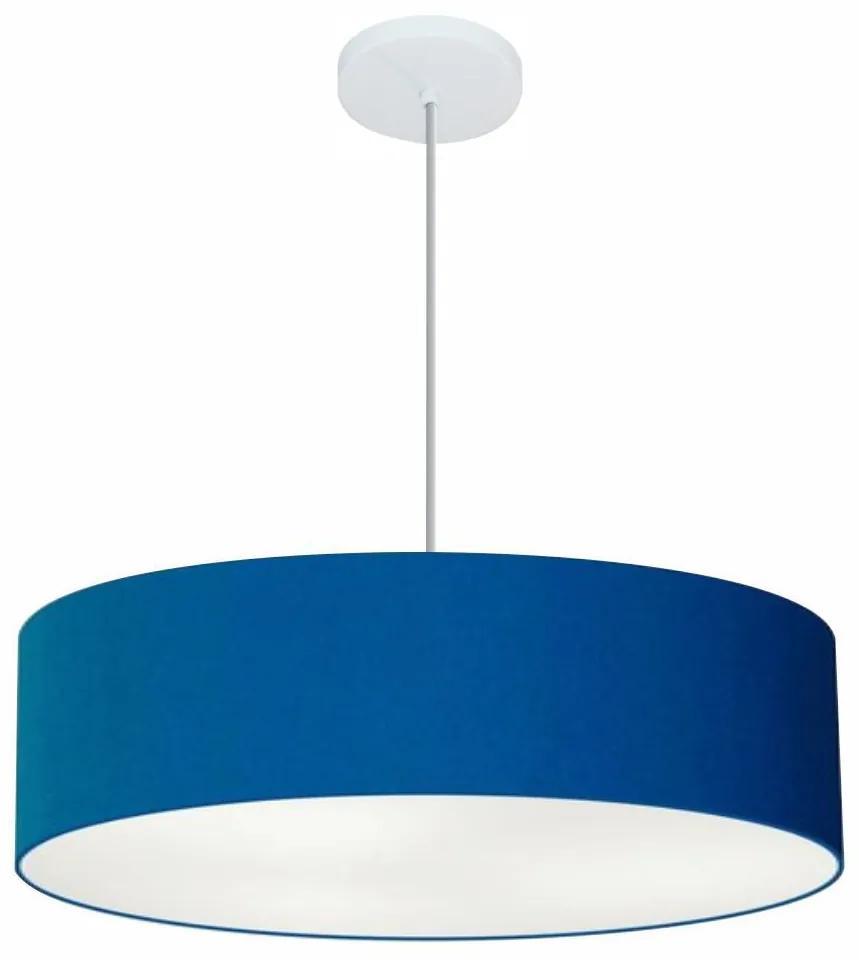 Lustre Pendente Cilíndrico Vivare Md-4221 Cúpula em Tecido 60x15cm - Bivolt - Azul Marinho - 110V/220V (Bivolt)