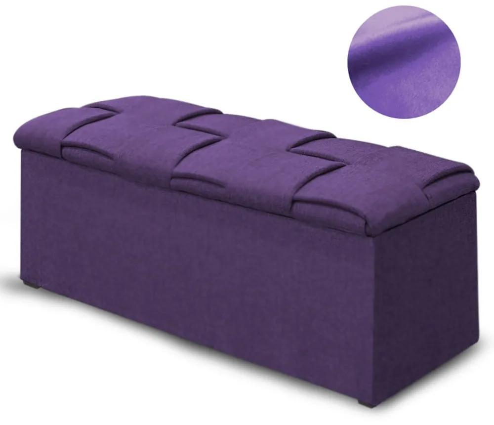 Calçadeira Baú Casal Queen 160cm Ravena Veludo Roxo  - Simbal - Violeta escuro