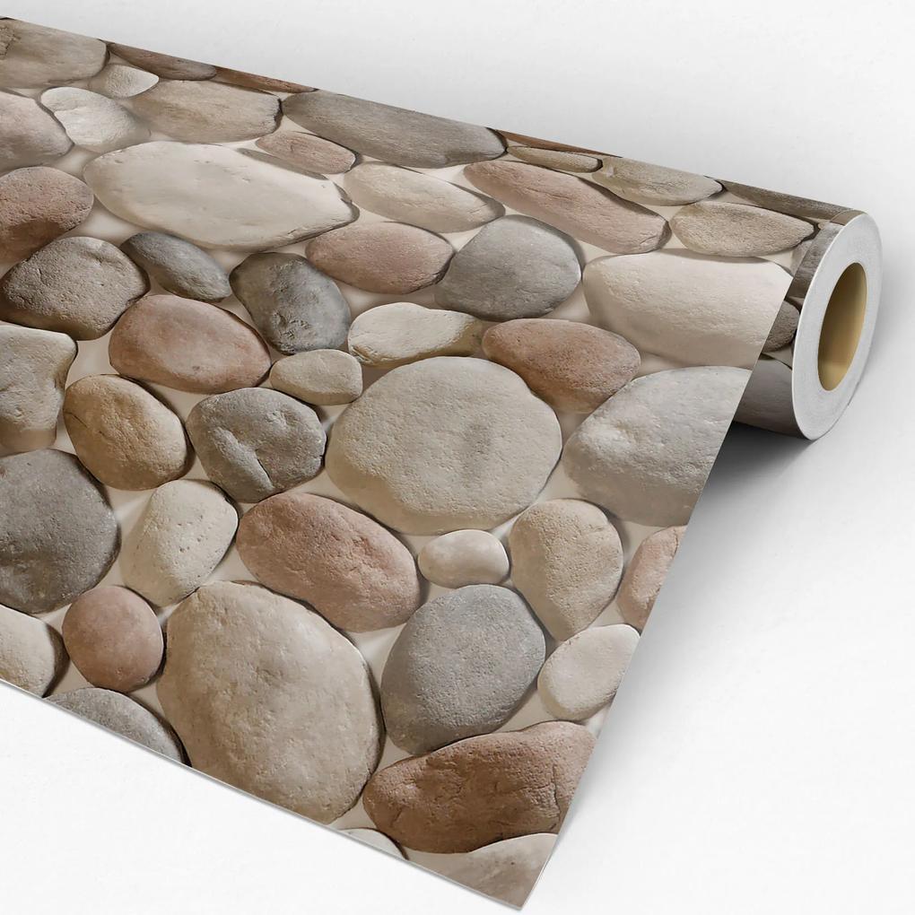 Papel de parede adesivo pedras marrom e cinza