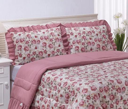 Colcha Casal Queen Coleção Essenciale Estampado 03 Peças - Rosê