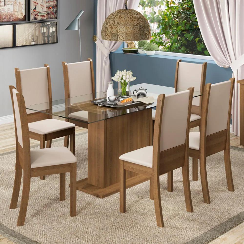 Conjunto Sala de Jantar Madesa Modena Mesa Tampo de Vidro com 6 Cadeiras Rustic/Crema/Sintético Bege Cor:Rustic/Crema/Bege