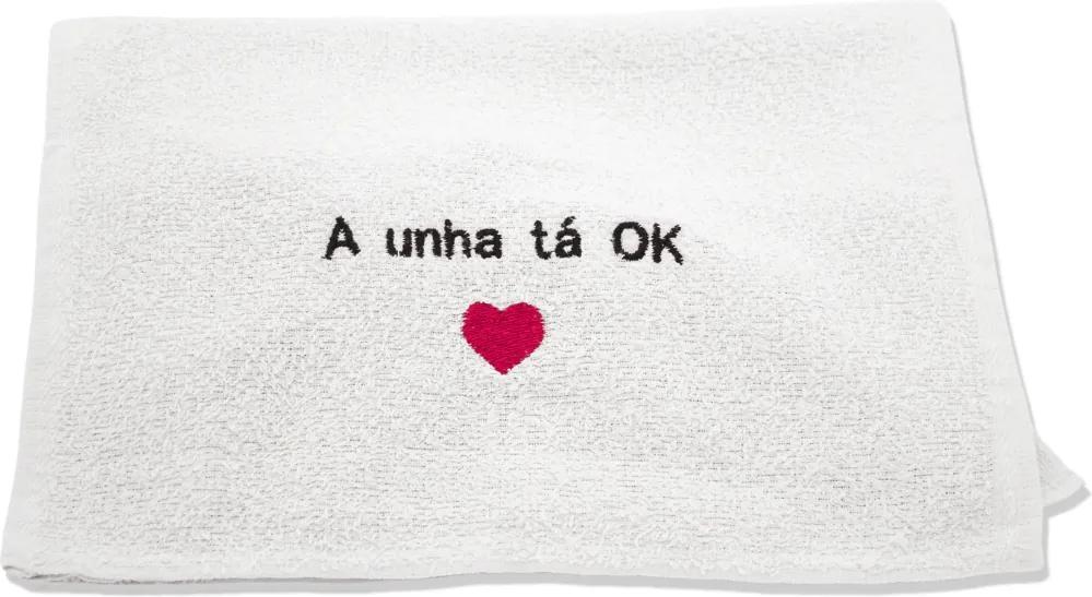 Toalha para Manicure Bordada com Frase - 28x45cm - Princesa -Branco