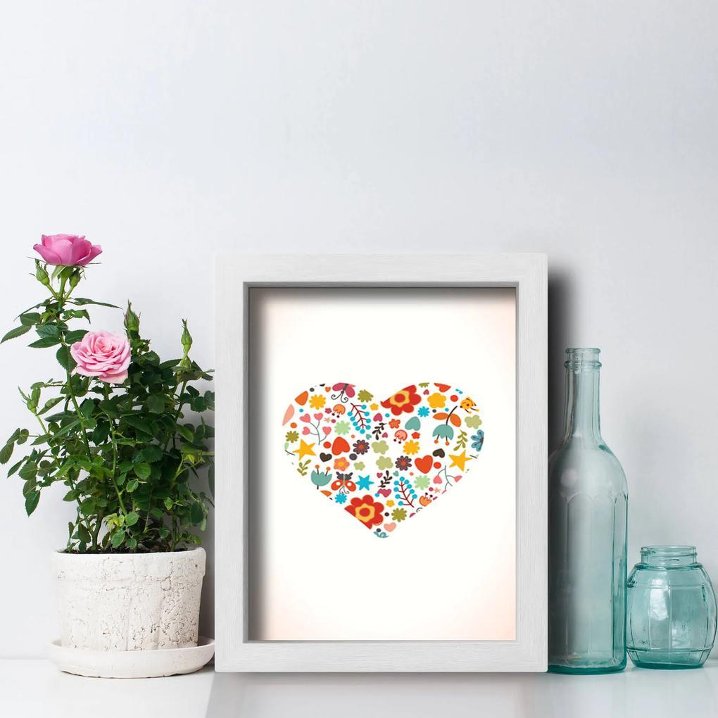Quadro Decorativo Coração Flores Moldura Branca 33x43cm