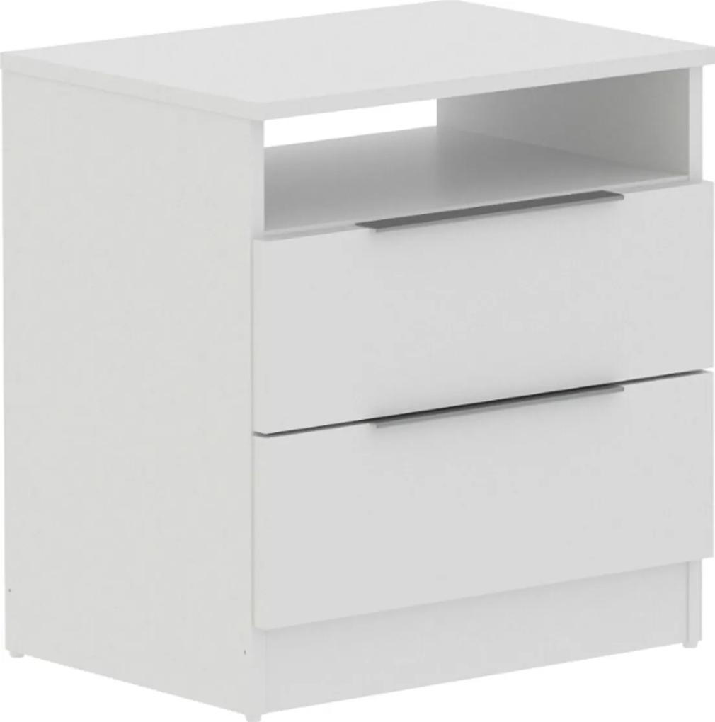 Mesa de Cabeceira Mades de madeira 2 gavetas Branco