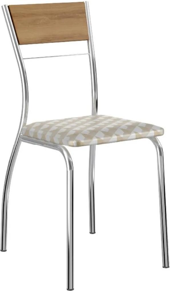 Cadeira Tubo Cromado Encosto Noce Tecido Estampado Carraro