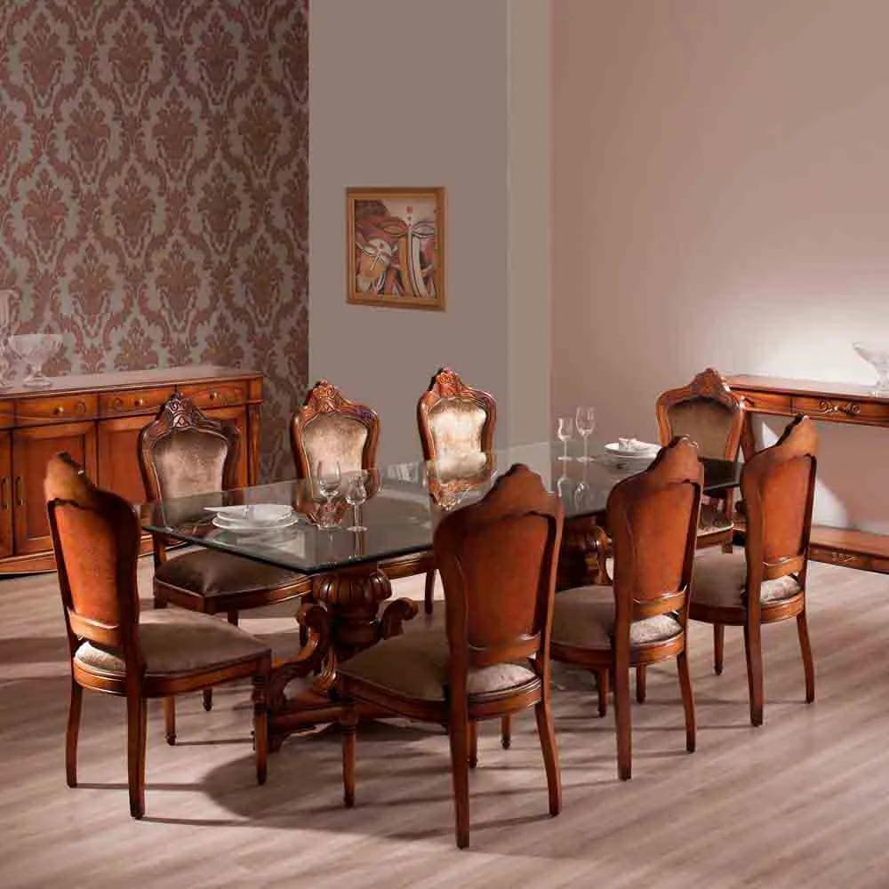 Mesa de Jantar Gold Tampo de Vidro Madeira Maciça Design Clássico Avi Móveis