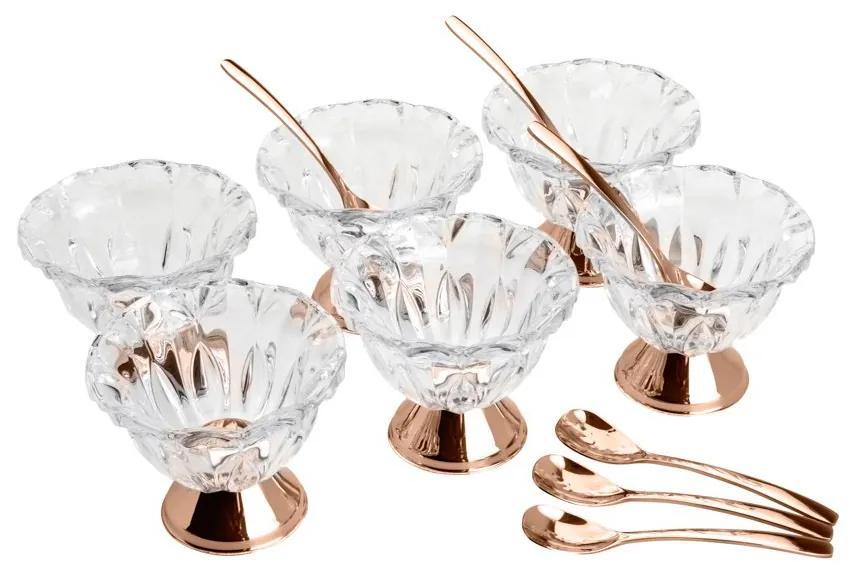 Jogo Bowls De Cristal Sobremesa 6 Peças  Com Colheres Rosé Louise 87125 Wolff
