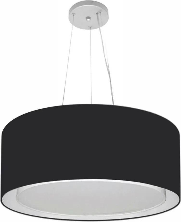 Lustre Pendente Cilíndrico Duplo Md-4124 Cúpula em Tecido 50x25cm Preto - Bivolt
