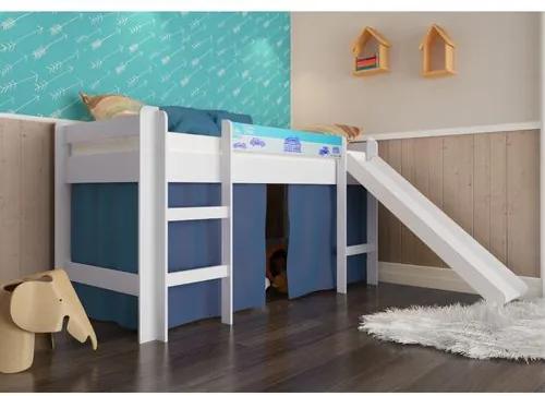 Cama Infantil com Escorregador e Cortina Azul - Branco