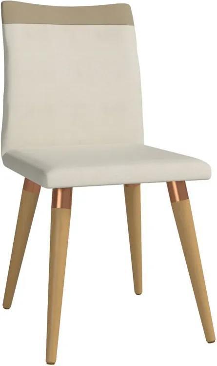 Cadeira de Jantar Moderní Linho Bege Claro - Wood Prime PV 32664