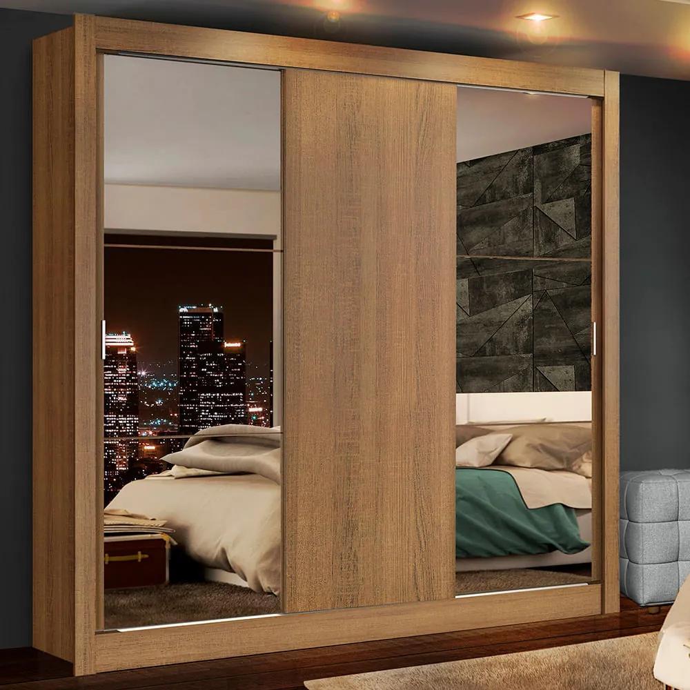Guarda-Roupa Casal Madesa Lyon Plus 3 Portas de Correr com Espelhos 4 Gavetas Rustic Cor:Rustic
