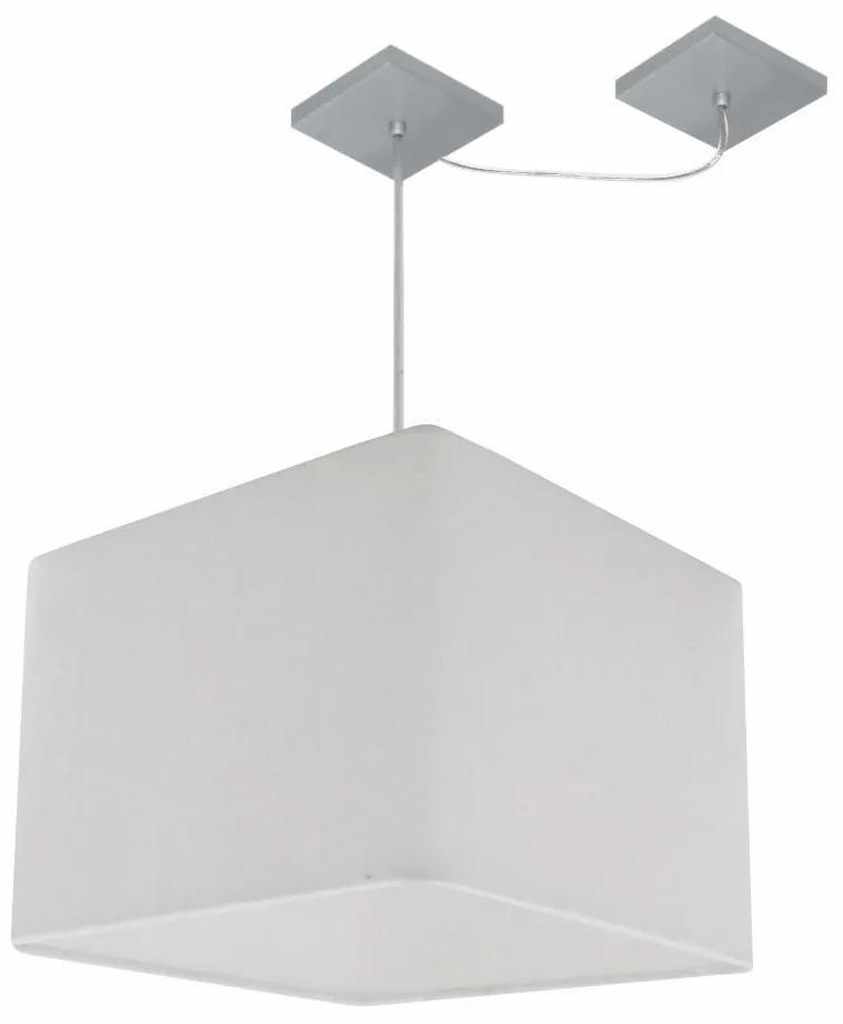 Lustre Pendente Quadrado Com Desvio de Centro Vivare Md-4269 Cúpula em Tecido 40x40cm - Bivolt - Branco - 110V/220V (Bivolt)