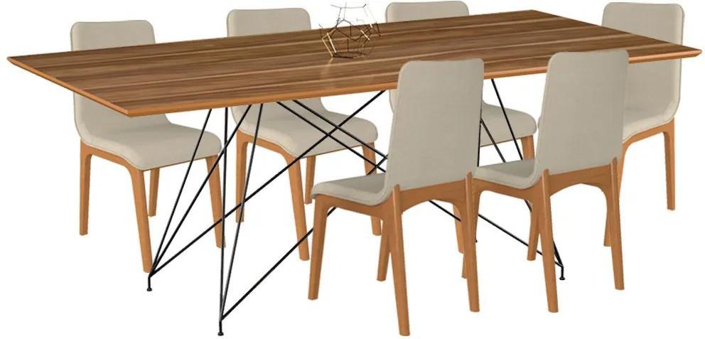 Conjunto Sala de Jantar 6 Cadeiras Mesa 180cm Teka/Champagne Lins Linho Bege - Gran Belo