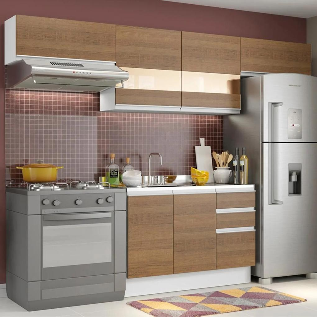 Cozinha Compacta Madesa Marina Com Armário e Balcão (Sem Tampo e Pia) Branco