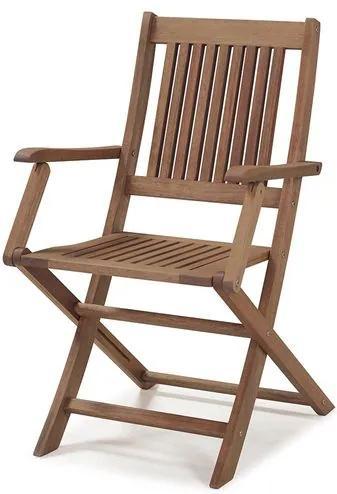 Cadeira Dobrável com Braços para Áreas Externas em Madeira Eucalipto - Maior Durabilidade - Castanho