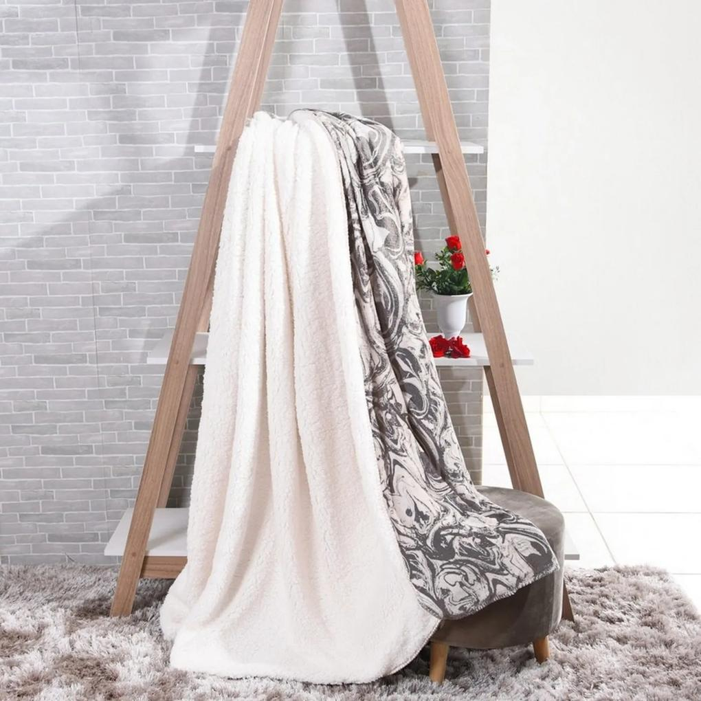 Manta Cobertor King Sherpa Lã De Carneiro + Flannel Carrara - Tessi