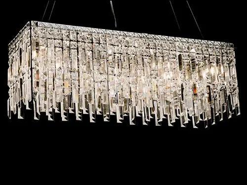 Pendente Crystal VI 80cm de Metal e Cristal Moderno Dourado