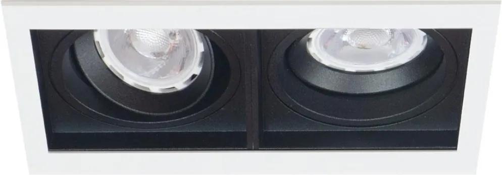 Plafon Embutir Duplo Aluminio Preto Branco Par20 E27 Quadra