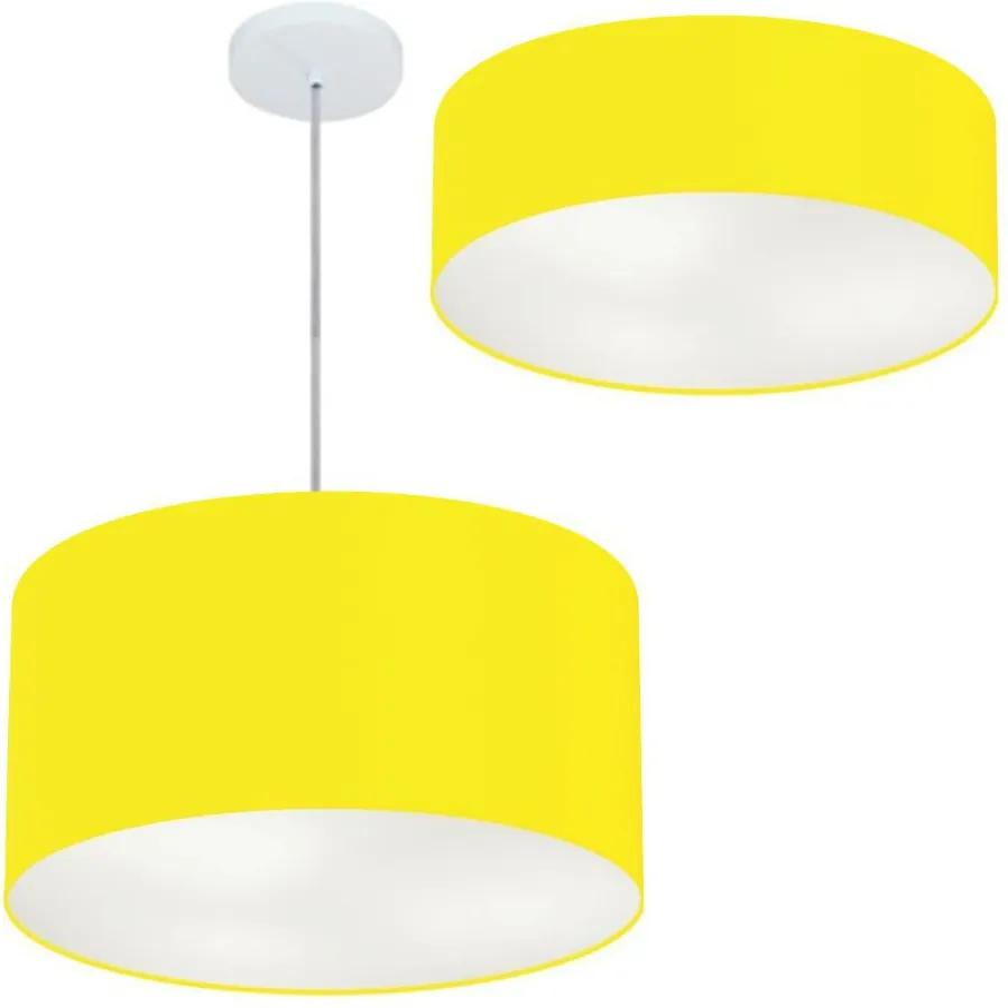 Kit Plafon Md-3014 Pendente Md-4049 Cúpula em Tecido 50cm Amarelo - Bivolt
