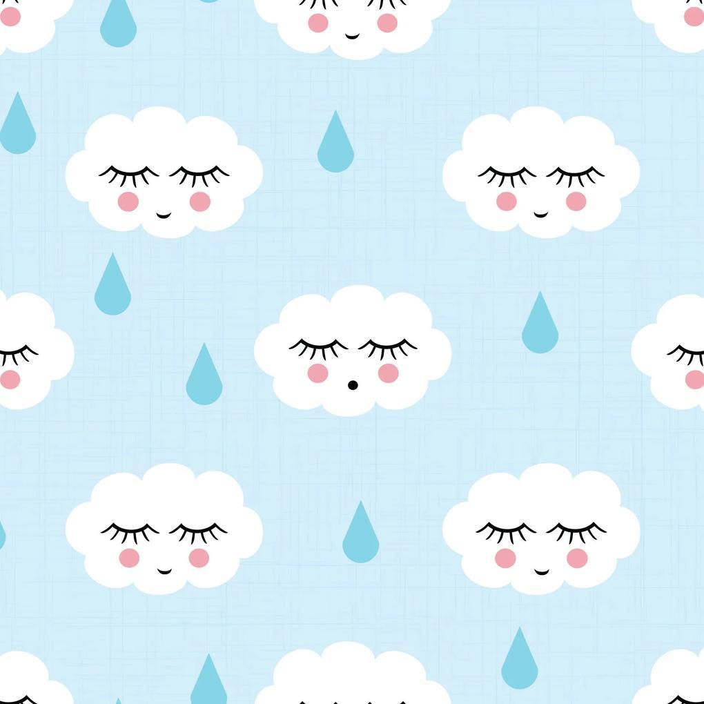 Papel de Parede Infantil Nuvens com Gotinhas Azul 2,70x0,57m
