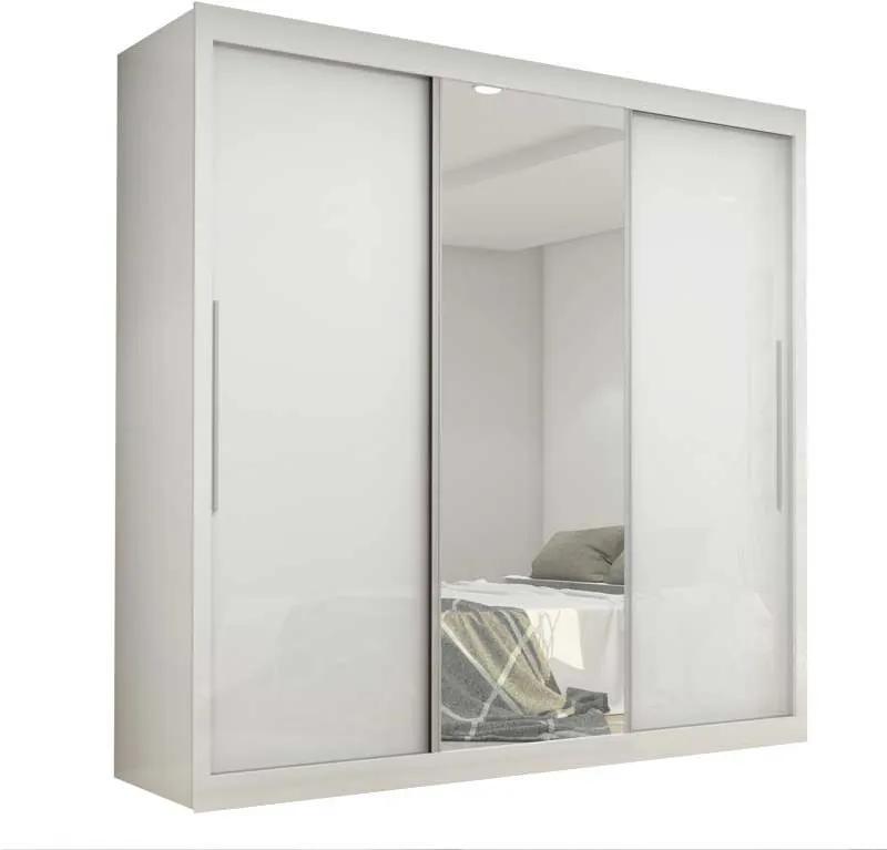 Guarda Roupa Portas De Correr Com Espelho Safira Gelius Branco