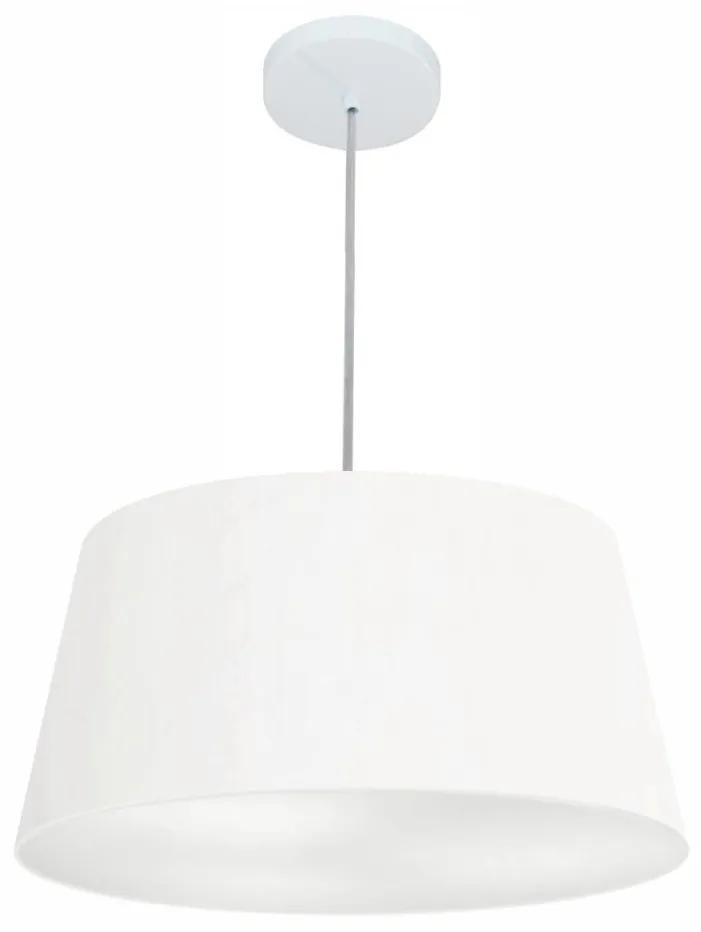 Lustre Pendente Cone Vivare Md-4050 Cúpula em Tecido 21/50x40cm - Bivolt - Branco - 110V/220V (Bivolt)