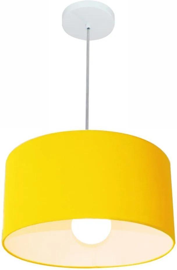 Lustre Pendente Cilíndrico Md-4031 Cúpula em Tecido 40x21cm Amarelo - Bivolt