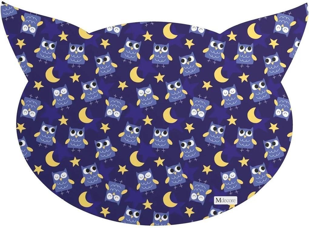 Tapete PET Mdecore Cabeça de Gato Coruja Azul Marinho54x39cm