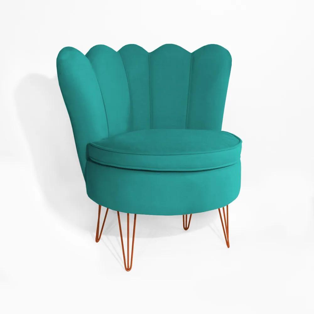Poltrona Dália Pés Hairpin Legs Bronze Suede  Azul Tiffany