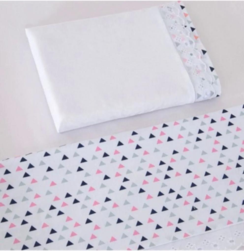 Jogo de Lençol para Mini Berço I9 Baby 3 peças Triângulo Rosa