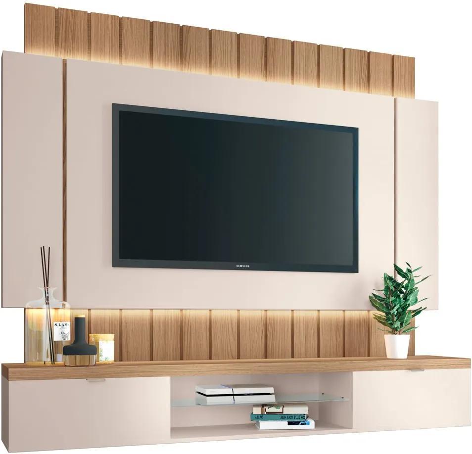 "Painel Home Suspenso para TV até 55"" Sala de Estar Shawn Off White/Freijó - Gran Belo"