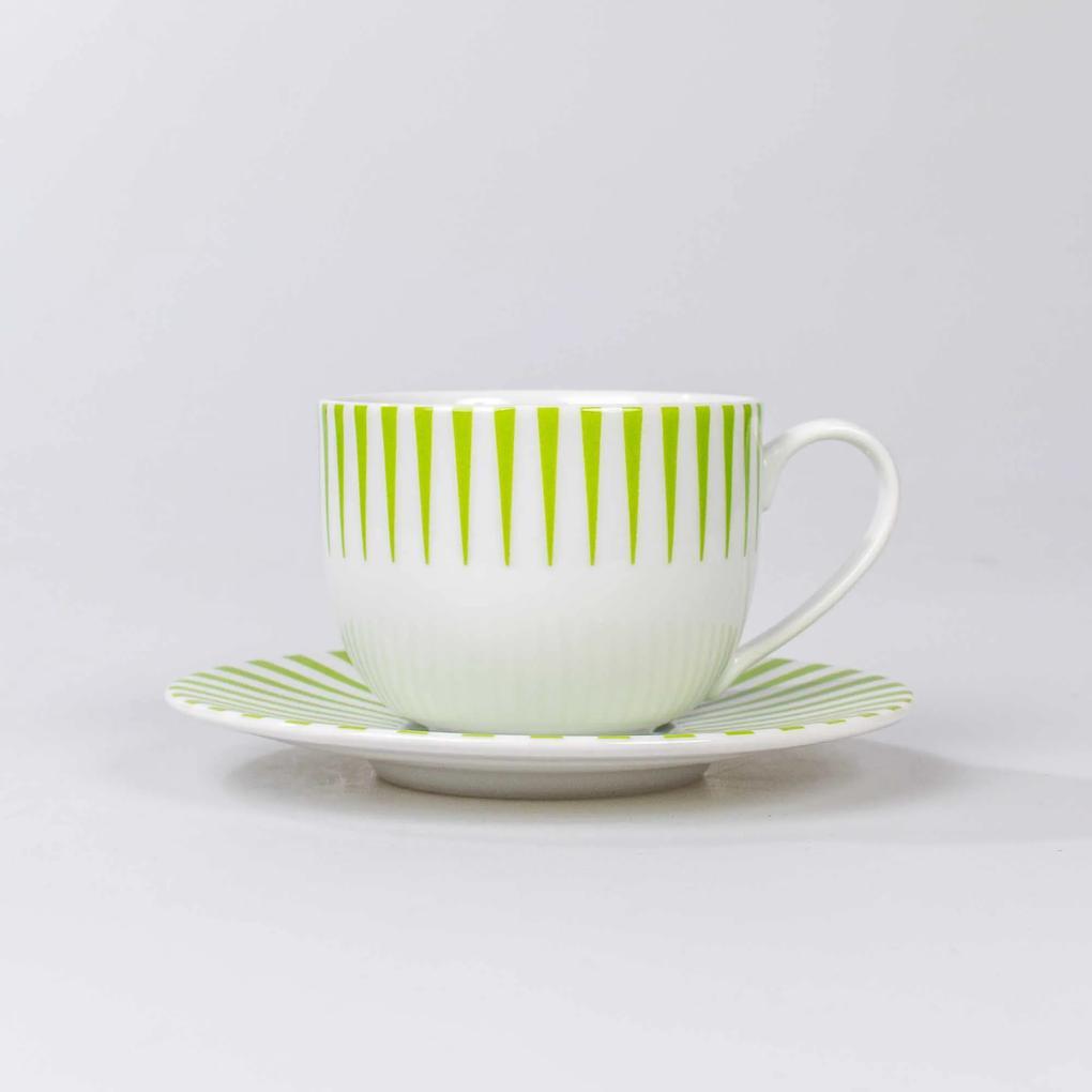 Xicara Chá c/ Pires Porcelana Schmidt - Dec. Sol Verde
