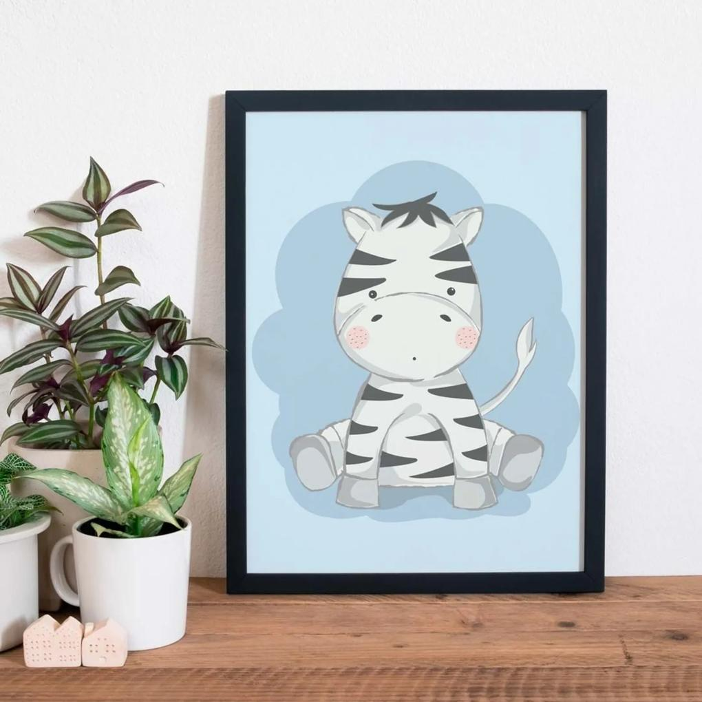 Quadro Decorativo Infantil Zebra Baby Preto - 20x25cm