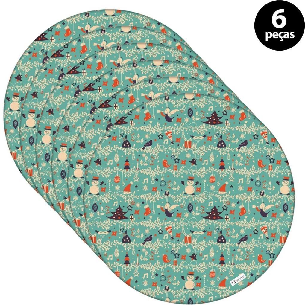 Sousplat Mdecore Natal Boneco de Neve 32x32cm Verde 6pçs
