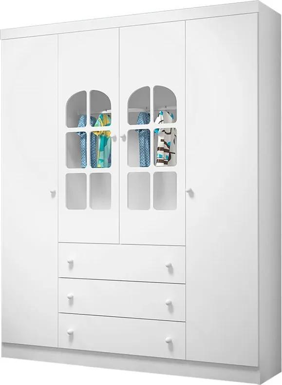 Guarda-roupa Cristal 100% MDF C/ 4 Portas C/ 7 Prateleiras / Branco